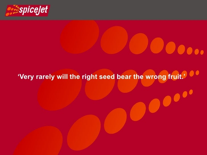 BRAND SPICEJET'Very rarely will the right seed bear the wrong fruit.'