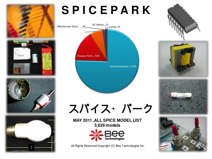 S P I C E P A R K<br />株式会社ビー・テクノロジー<br />スパイス・パーク<br />MAY 2011 ,ALL SPICE MODEL LIST<br />3,629 models<br />All Rights R...