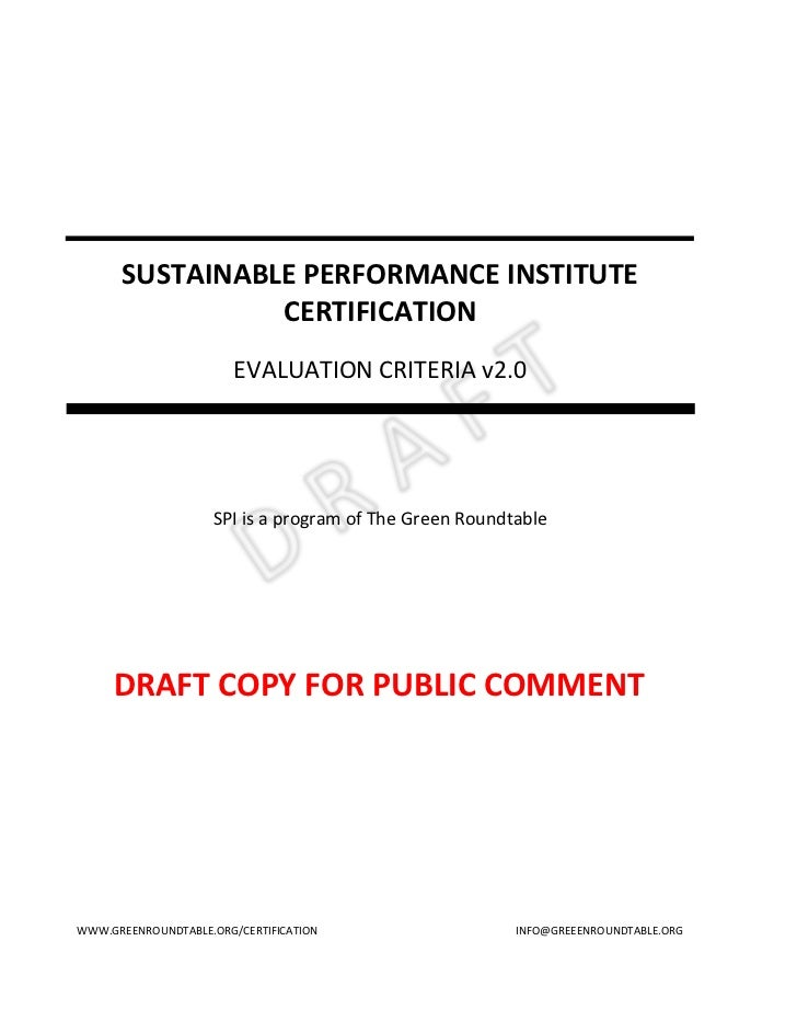 SUSTAINABLE PERFORMANCE INSTITUTE                CERTIFICATION                        EVALUATION CRITERIA v2.0            ...