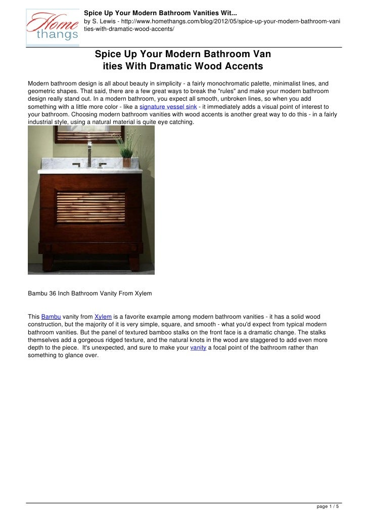 Spice Up Your Modern Bathroom Vanities Wit...                     by S. Lewis - http://www.homethangs.com/blog/2012/05/spi...