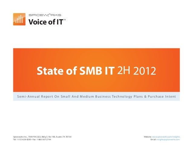 Voice of IT                                                       TM                         State of SMB IT 2H 2012    S ...