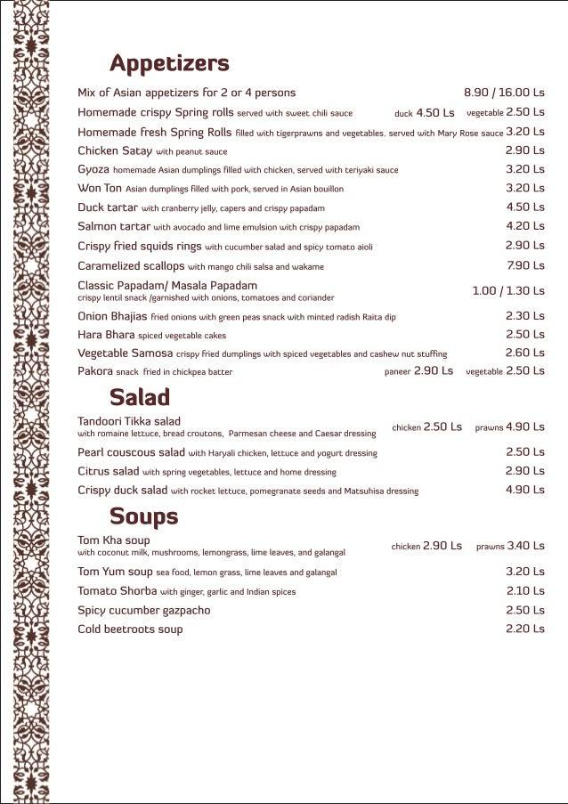 Spicy affair menu en