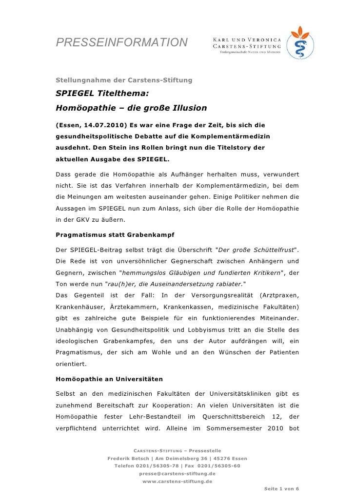 PRESSEINFORMATION   Stellungnahme der Carstens-Stiftung  SPIEGEL Titelthema: Homöopathie – die große Illusion  (Essen, 14....