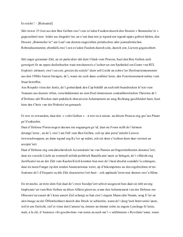 Es reicht ! – [Reloaded]Säit iwwer 25 Joer ass den Ben Geiben ewe'i een ro'uden Fuedem duerch den Dossier « Bommelee'er »g...