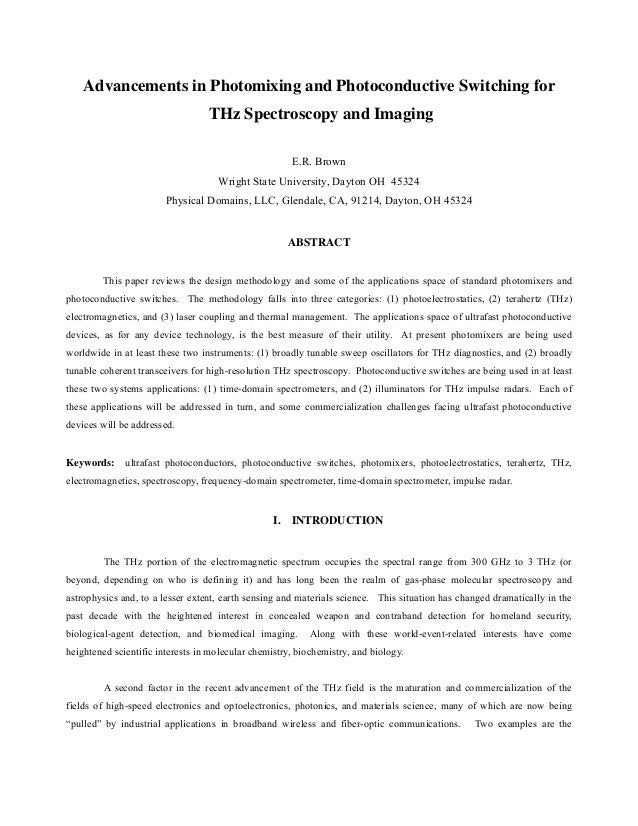 Advancements in Photomixing and Photoconductive Switching for                                  THz Spectroscopy and Imagin...