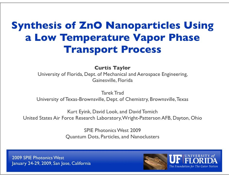 Synthesis of ZnO Nanoparticles Using   a Low Temperature Vapor Phase           Transport Process                          ...