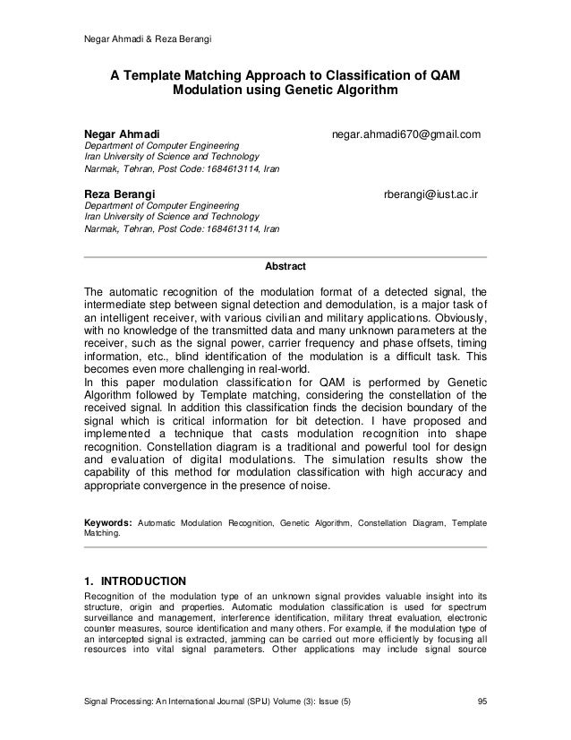 A template matching approach to classification of qam for Template matching in image processing