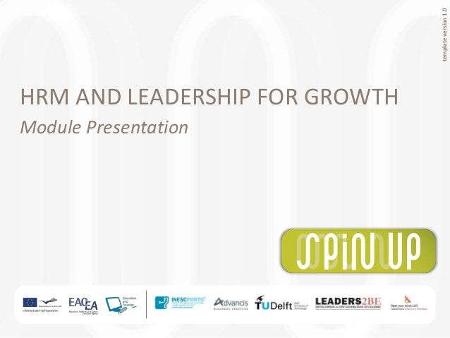 Human Resources Management and Leadership for Growth