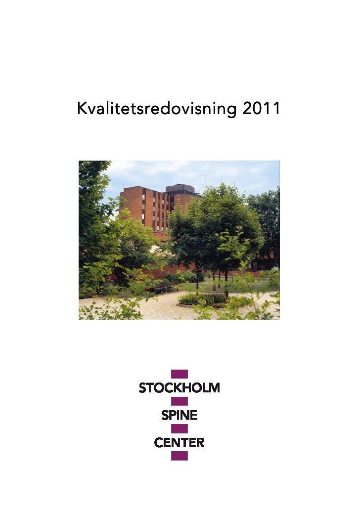 Spine center stockholm kvalitetsredovisning 2011