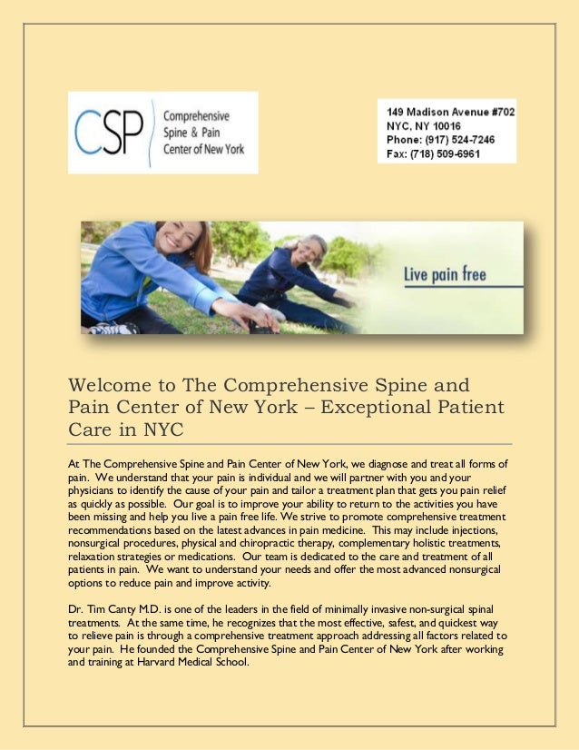 Welcome to The Comprehensive Spine and Pain Center of New York – Exceptional Patient Care in NYC At The Comprehensive Spin...