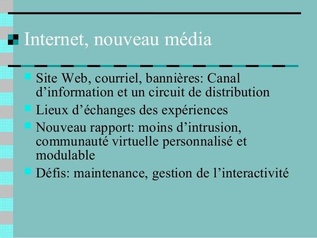 Internet, nouveau média Site Web, courriel, bannières: Canald'information et un circuit de distribution Lieux d'échanges...