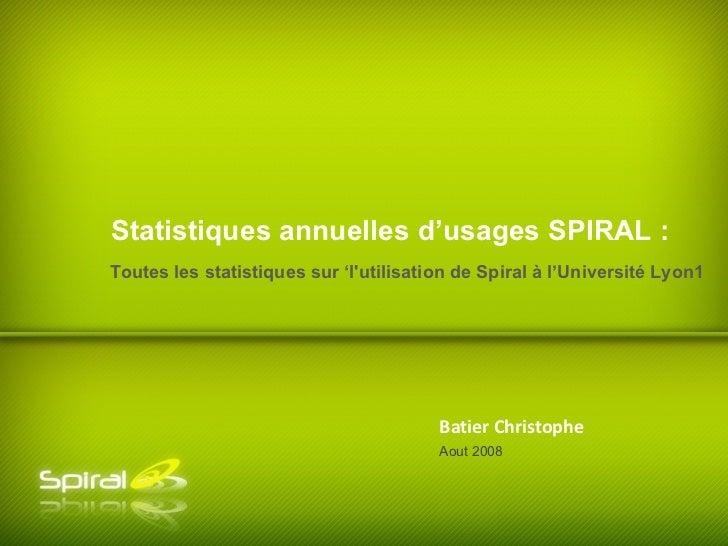 Batier Christophe Toutes les statistiques sur 'l'utilisation de Spiral à l'Université Lyon1 Statistiques annuelles d'usage...