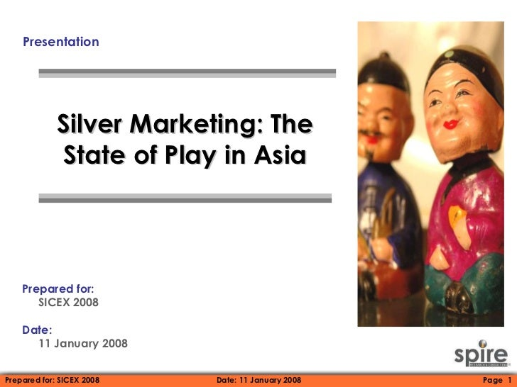 Presentation Silver Marketing: The State of Play in Asia Prepared for:  SICEX 2008 Date:   11 January 2008