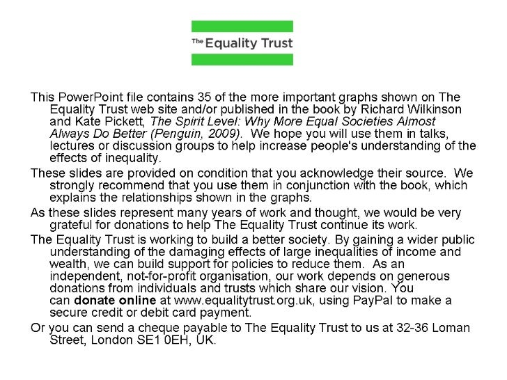 The Spirit Level - slides from The Equality Trust