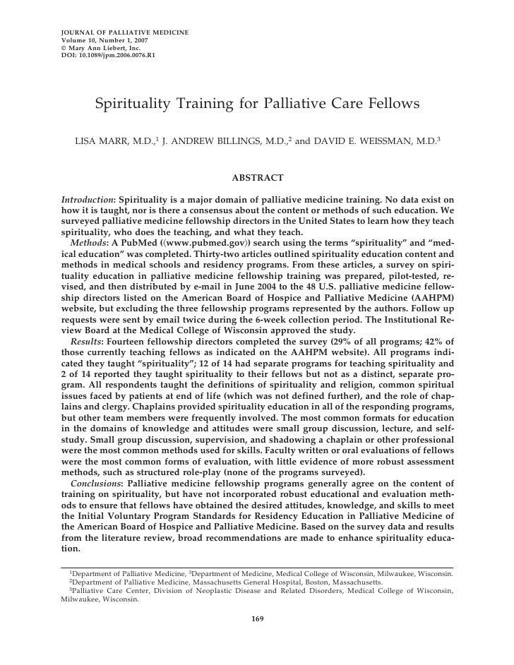 Spirituality  Training For  Palliative  Care  Fellows