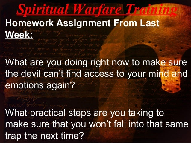 a discussion about the mental and spiritual war Depression: satan's weapon in a war for your the very real physical and mental illness known as depression is one scheme satan a weapon of spiritual warfare.