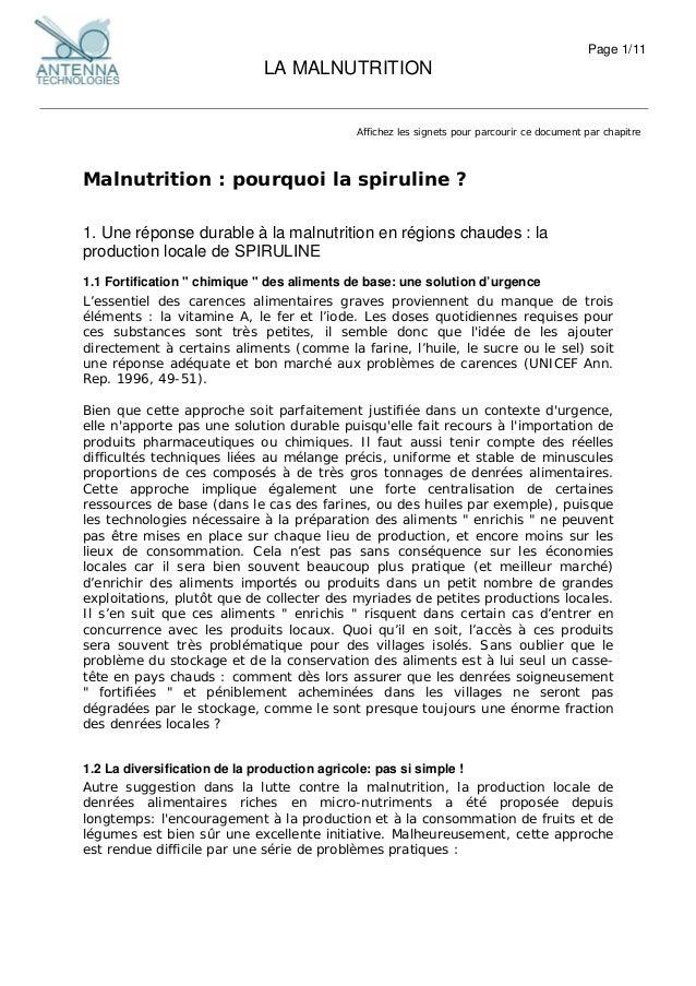 Page 1/11 LA MALNUTRITION Affichez les signets pour parcourir ce document par chapitre Malnutrition : pourquoi la spirulin...