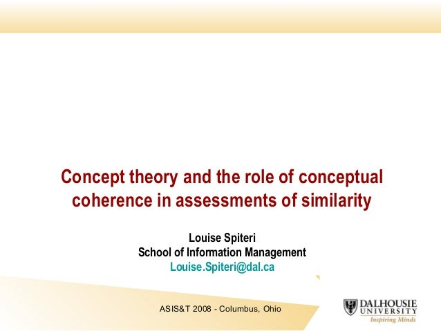 Concept theory and the role of conceptual coherence in assessments of similarity Louise Spiteri School of Information Mana...