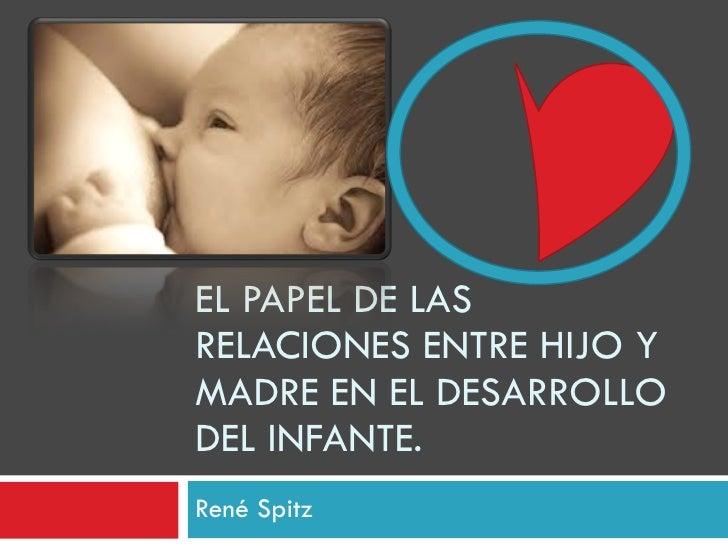 René Spitz EL PAPEL DE LAS RELACIONES ENTRE HIJO Y MADRE EN EL DESARROLLO DEL INFANTE.