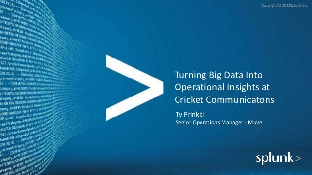 Copyright © 2012 Splunk Inc.Turning Big Data IntoOperational Insights atCricket CommunicatonsTy PrinkkiSenior Operations M...