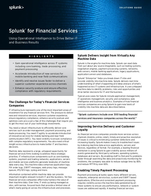 s o l u t i o n s g u i d e The Challenge for Today's Financial Services Companies IT infrastructure represents one of the...