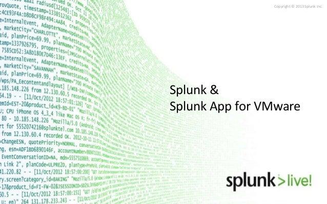 Copyright © 2013 Splunk Inc.  Splunk & Splunk App for VMware