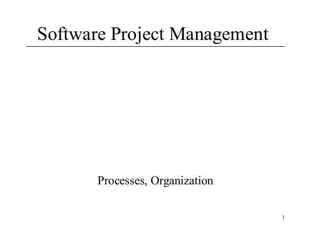 Software Project Management  Processes, Organization 1