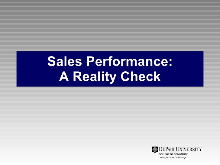 Sales Performance: A Reality Check