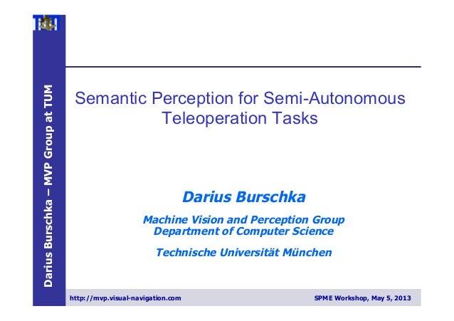DariusBurschka–MVPGroupatTUMhttp://mvp.visual-navigation.com SPME Workshop, May 5, 2013Darius BurschkaMachine Vision and P...