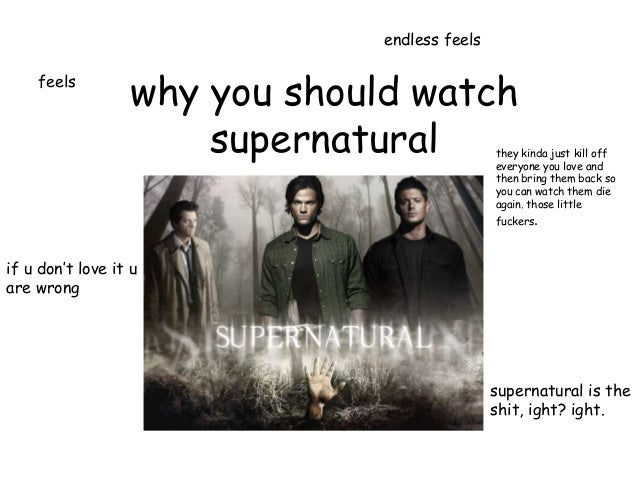 endless feels    feels                  why you should watch                      supernatural             they kinda just...