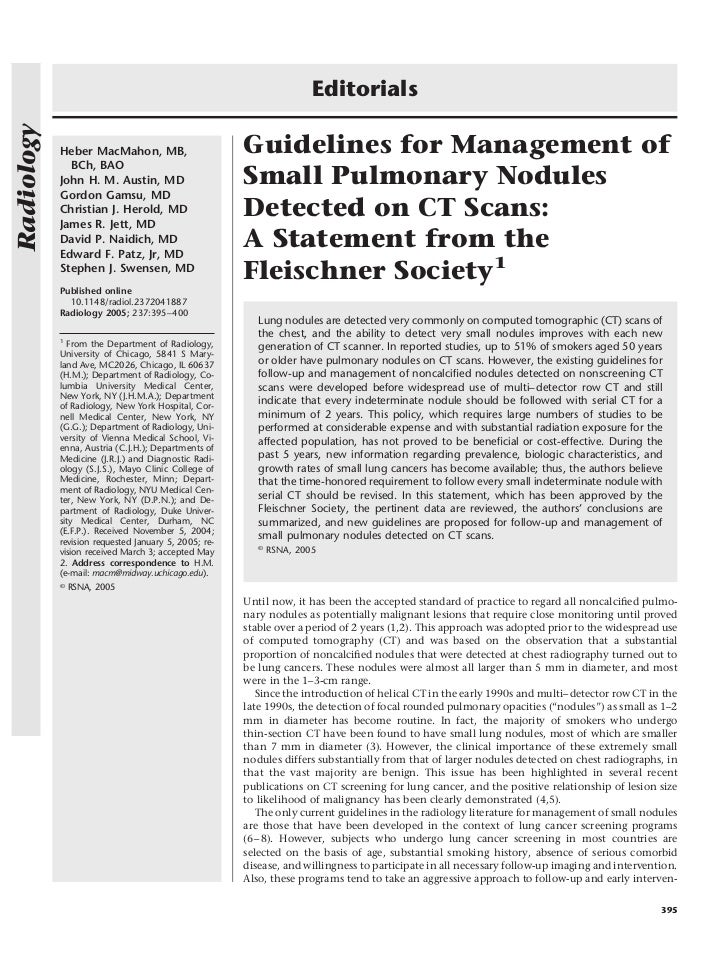 EditorialsRadiology            Heber MacMahon, MB,                       Guidelines for Management of              BCh, BA...