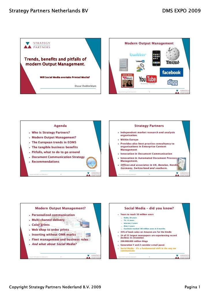 Modern Output Management - Trends, benefits and pitfalls