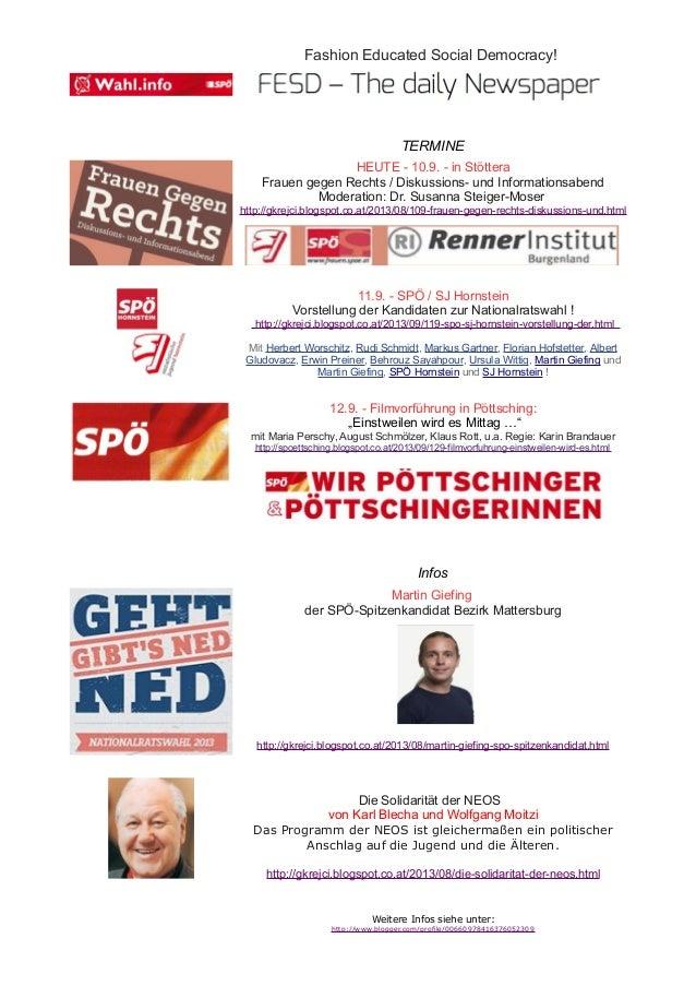 Fashion Educated Social Democracy! TERMINE HEUTE - 10.9. - in Stöttera Frauen gegen Rechts / Diskussions- und Informations...