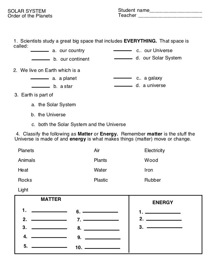 Order of the planets (worksheet)