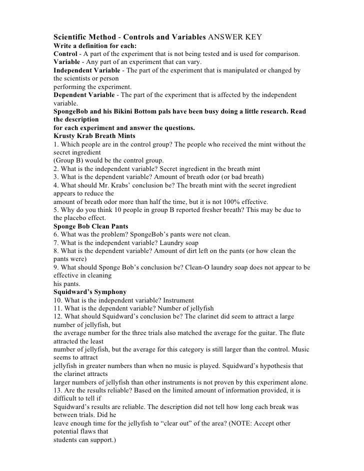 Printables Science And The Scientific Method Worksheet Answer Key spongebob scientific method worksheet syndeomedia