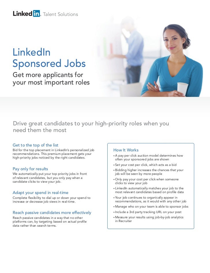 Talent SolutionsLinkedInSponsored JobsGet more applicants foryour most important rolesDrive great candidates to your high-...