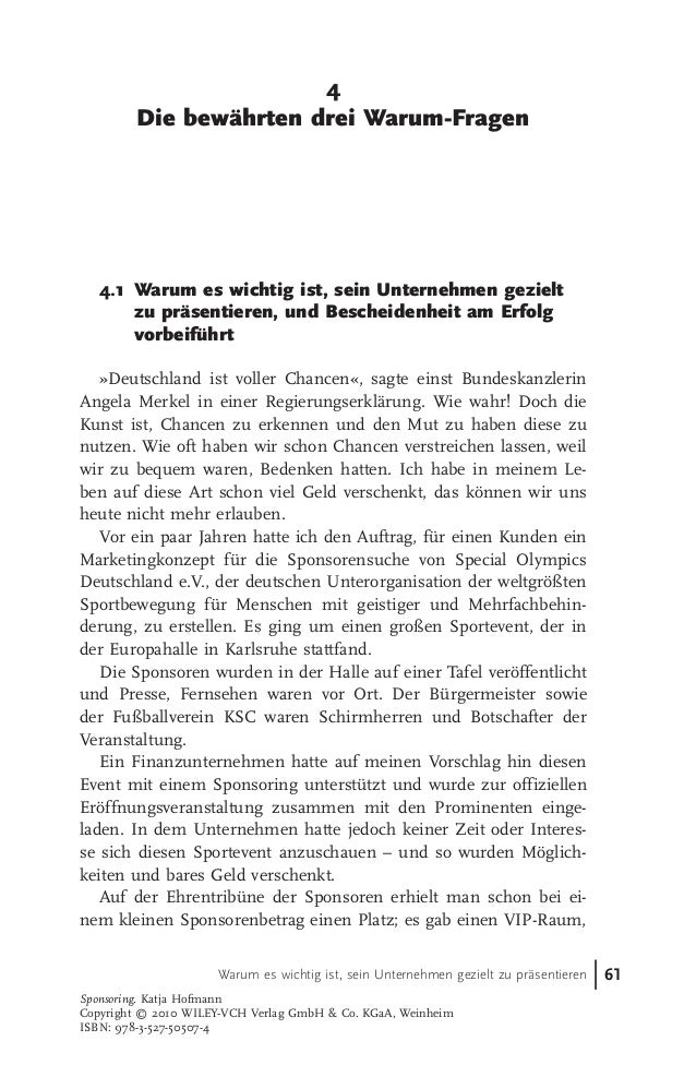 """""""Sponsoring. Gute Unternehmen machen Werbung – exzellente lassen positiv über sich sprechen"""" - Auszug aus dem Buch von Katja Hofmann"""