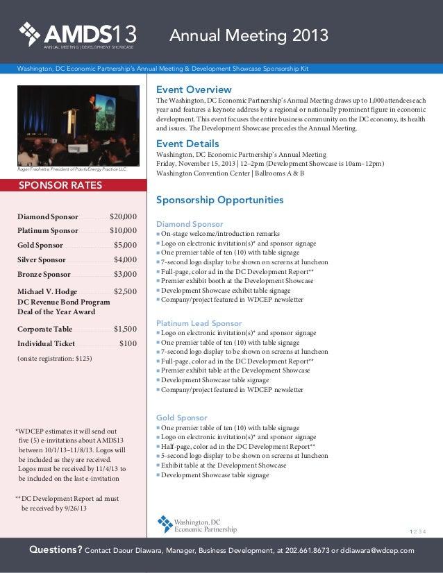13ANNUAL MEETING | DEVELOPMENT SHOWCASE Washington, DC Economic Partnership's Annual Meeting & Development Showcase Sponso...