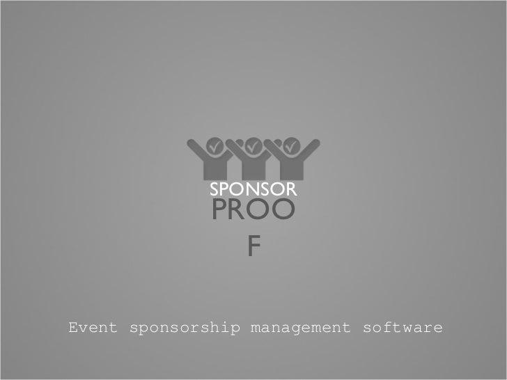 Event sponsorship management software SPONSOR PROOF