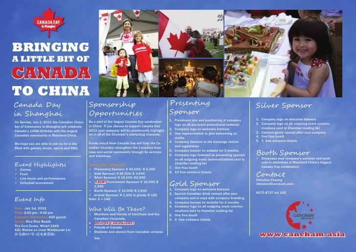 BRINGINGA LITTLE BIT OFCANADATO CHINACanada Day                                   Sponsorship                             ...
