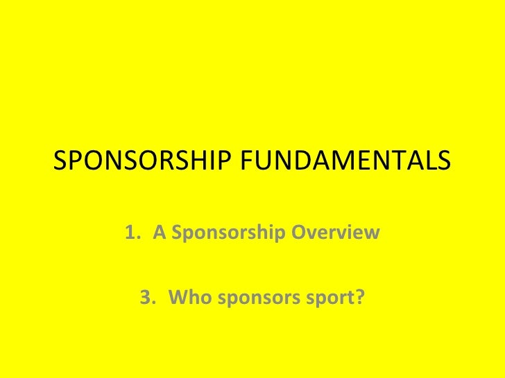 Sponsorship Fundamentals