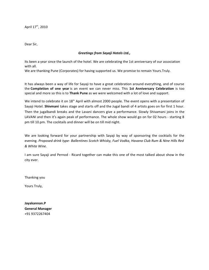 Sponsorship Invitation Letter Sample