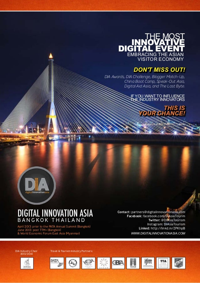 SPONSORSHIP & PARTNERSHIP OPPORTUNITIESDIGITAL INNOVATION ASIAB A N G K O K T H A I L A N DApril 2013: prior to the PATA A...