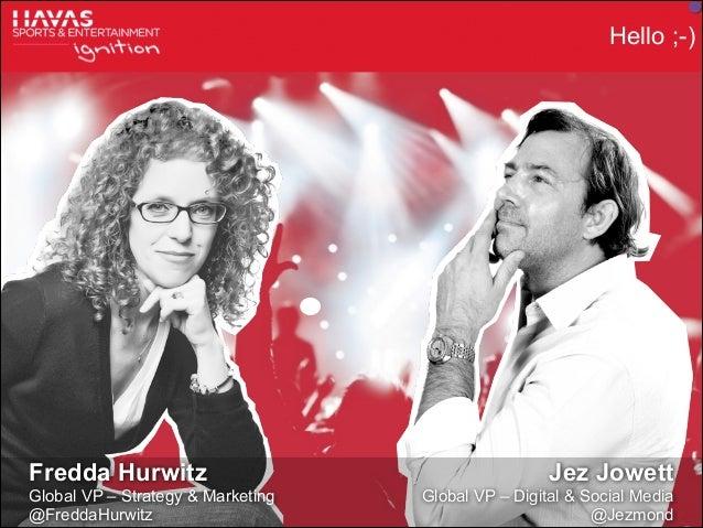 Hello ;-)  Fredda Hurwitz Global VP – Strategy & Marketing @FreddaHurwitz © Havas Sports & Entertainment  Jez Jowett Globa...