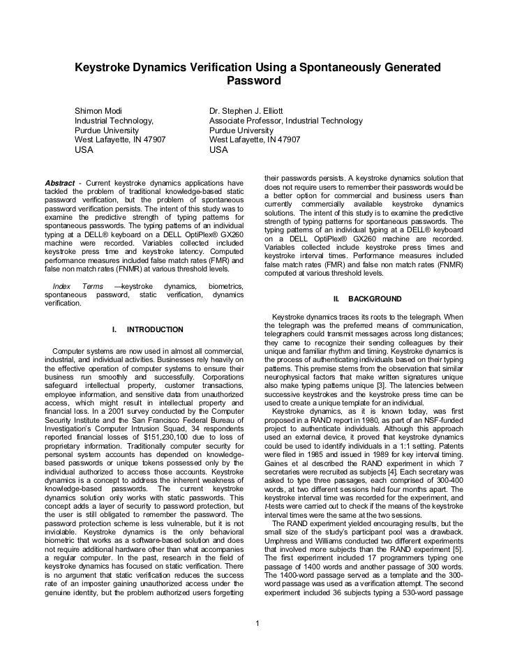 Keystroke Dynamics Verification Using a Spontaneously Generated                                    Password           Shim...