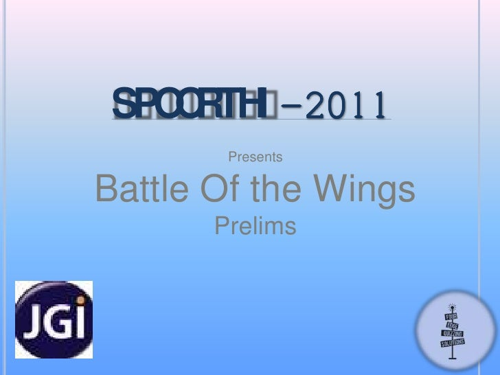SPOORTHI-2011<br />Presents<br />Battle Of the Wings<br />Prelims<br />