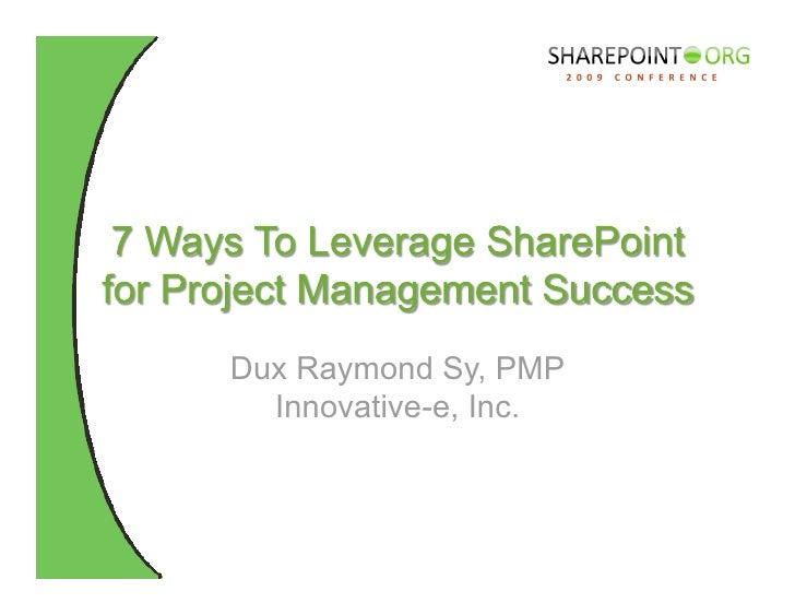 Dux Raymond Sy, PMP   Innovative-e, Inc.