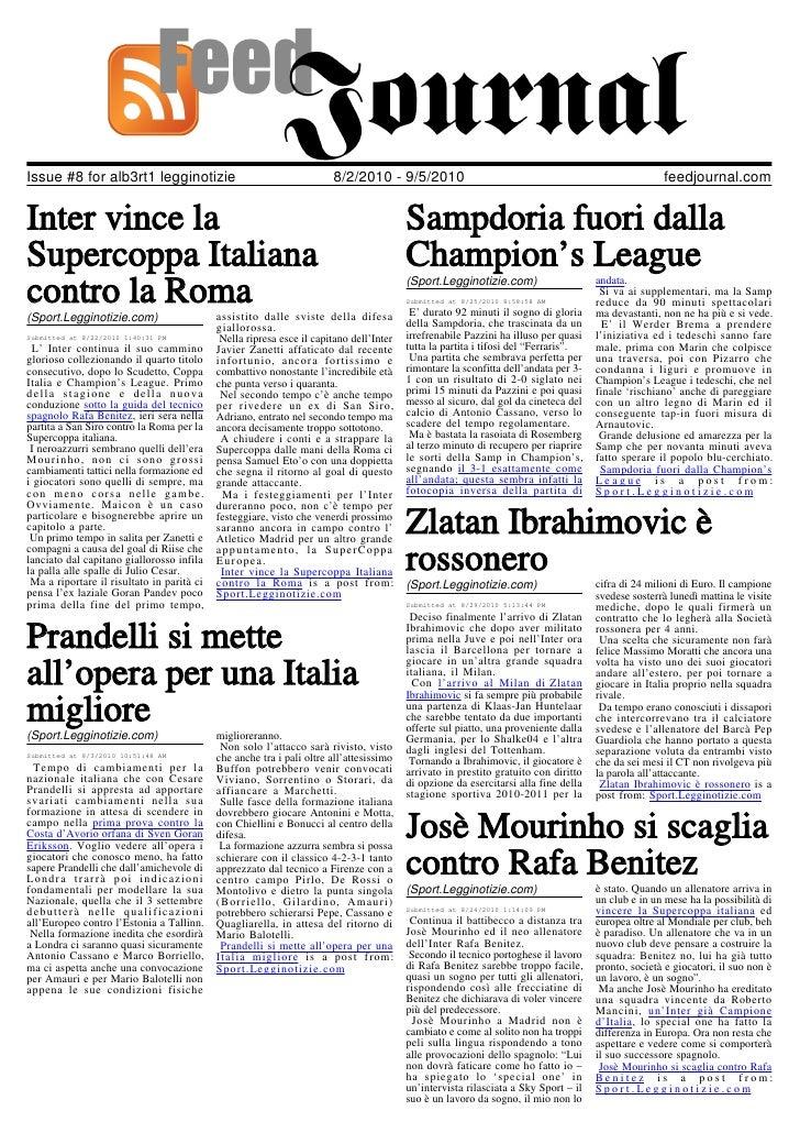 Issue #8 for alb3rt1 legginotizie                                      8/2/2010 - 9/5/2010                                ...