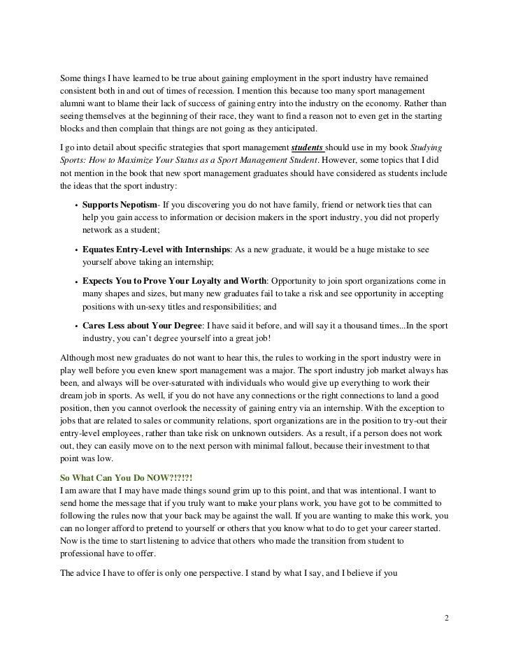 Sports management sample resume