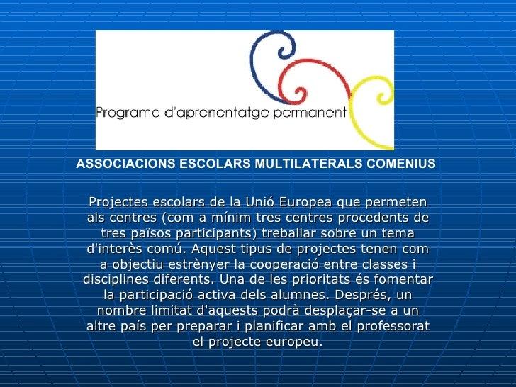 Projectes escolars de la Unió Europea que permeten als centres (com a mínim tres centres procedents de tres països partici...